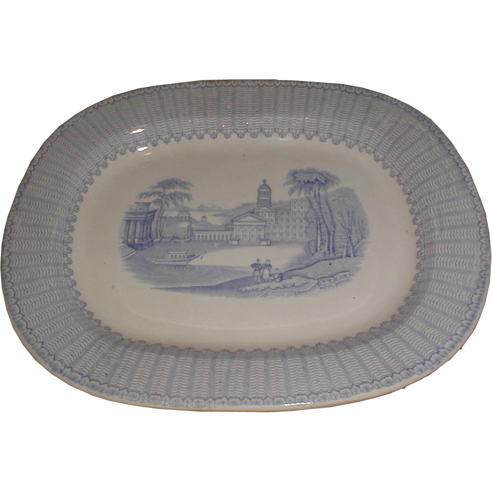 Lovely Light Blue Transferware Platter, CORINTH, Fell, 1845