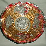 """Lovely 9"""" Goofus Glass Bowl, Red Rose w/Gold"""