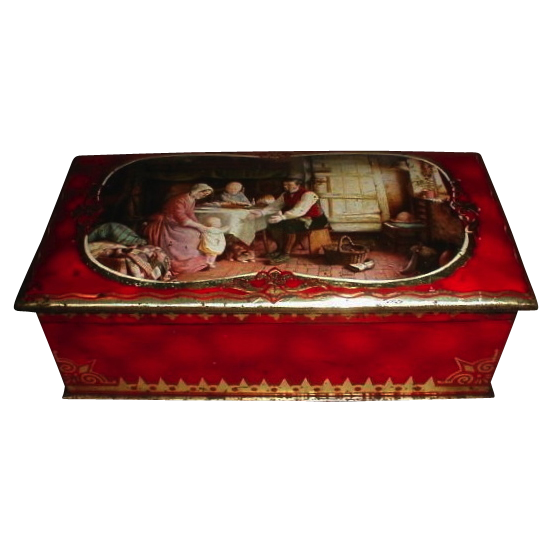 1936 McVitie & Price Edinburgh British Biscuit Tin RUBY British