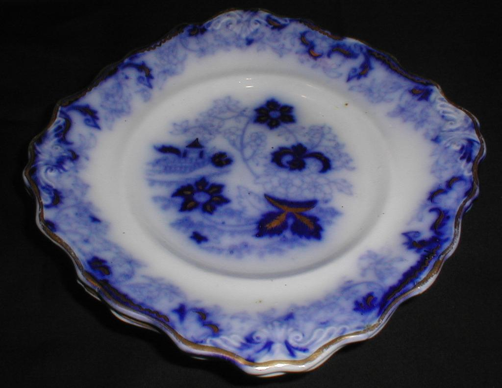 Lovely Flow Blue Plate, Gilded, Not Marked, English