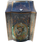 Lovely Large Store Counter Tea Bin, Oriental Tole