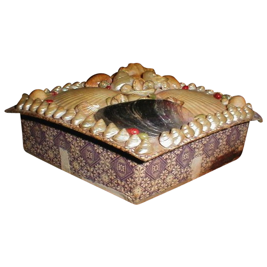 Lovely Victorian Sea Shell Box, Diamond Shape