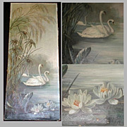 19th Century Oil Painting on Canvas, Swans & Water Lilies