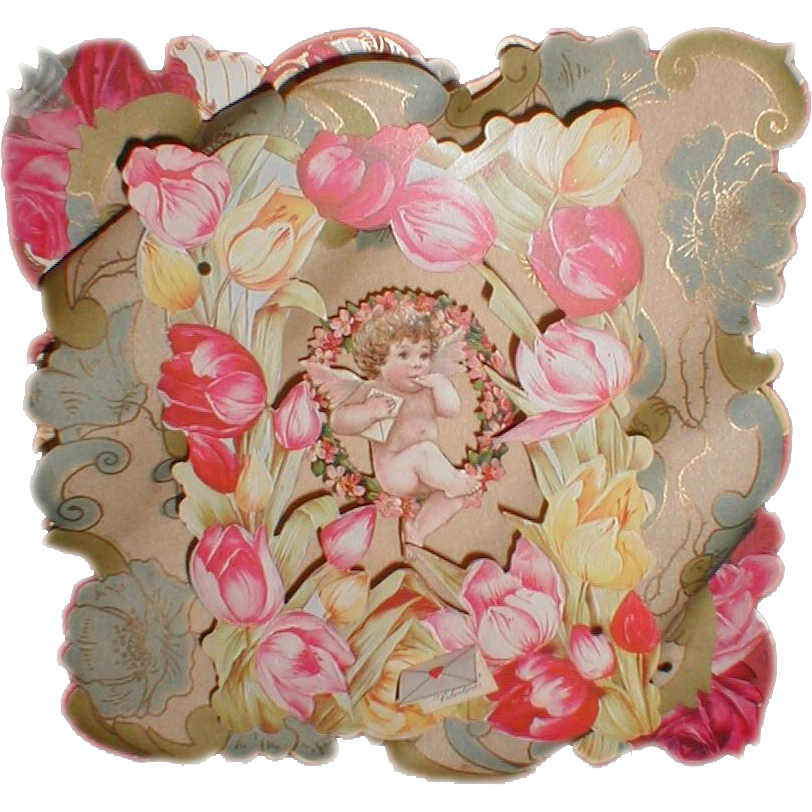 Lovely 3-Dimensional Victorian Valentine Card, Die-Cut