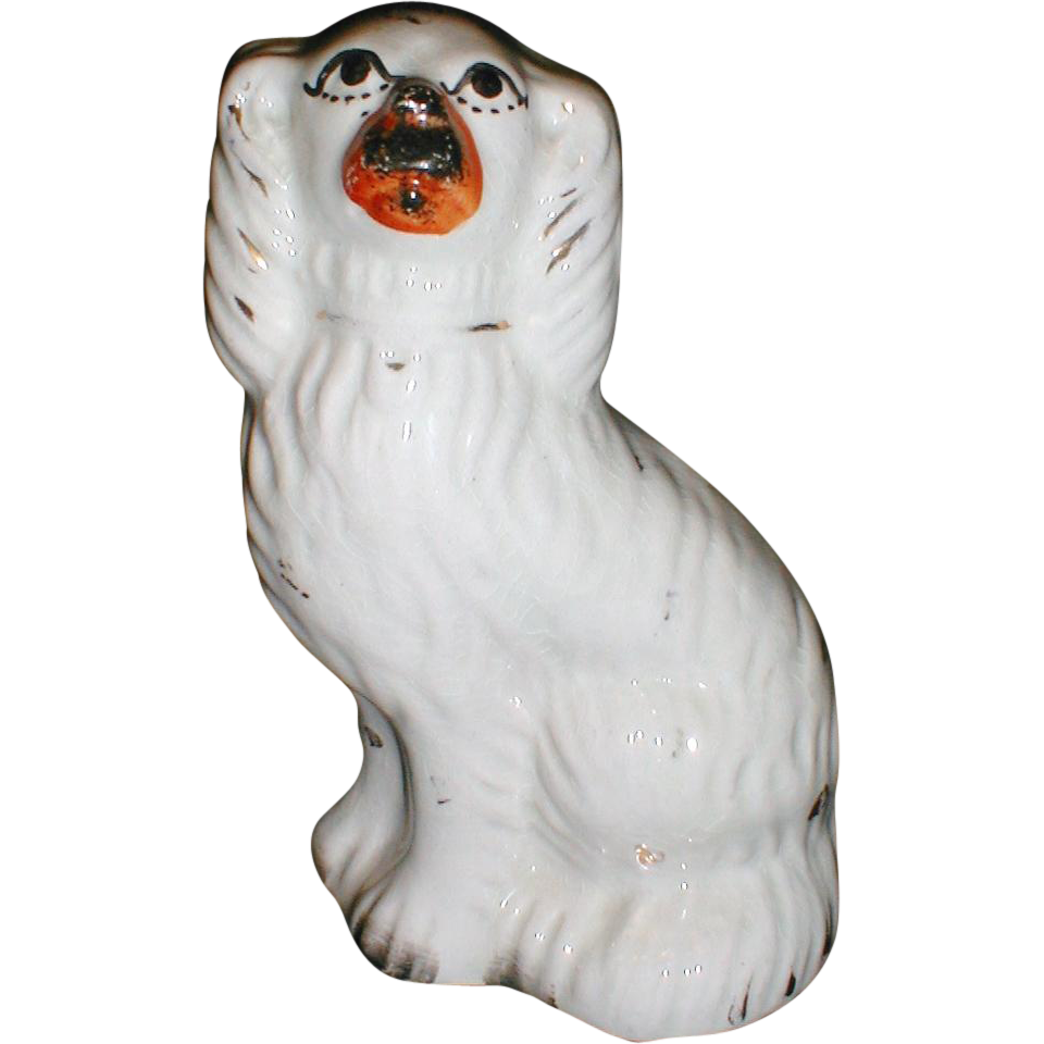 "Lovely 6.5"" Staffordshire White Spaniel (Dog), 19th Century"