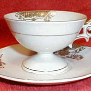 Small Gilded White Porcelain Cup & Saucer UCAGCO