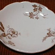 Set of 3 Brown Transferware Butterpats, ca. 1890