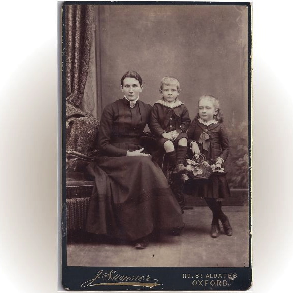 Victorian Cabinet Photograph Card of Mother and Two Children