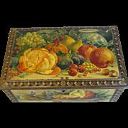 Gorgeous Vintage Fruit Still Life Cocoa Tin, PETTE