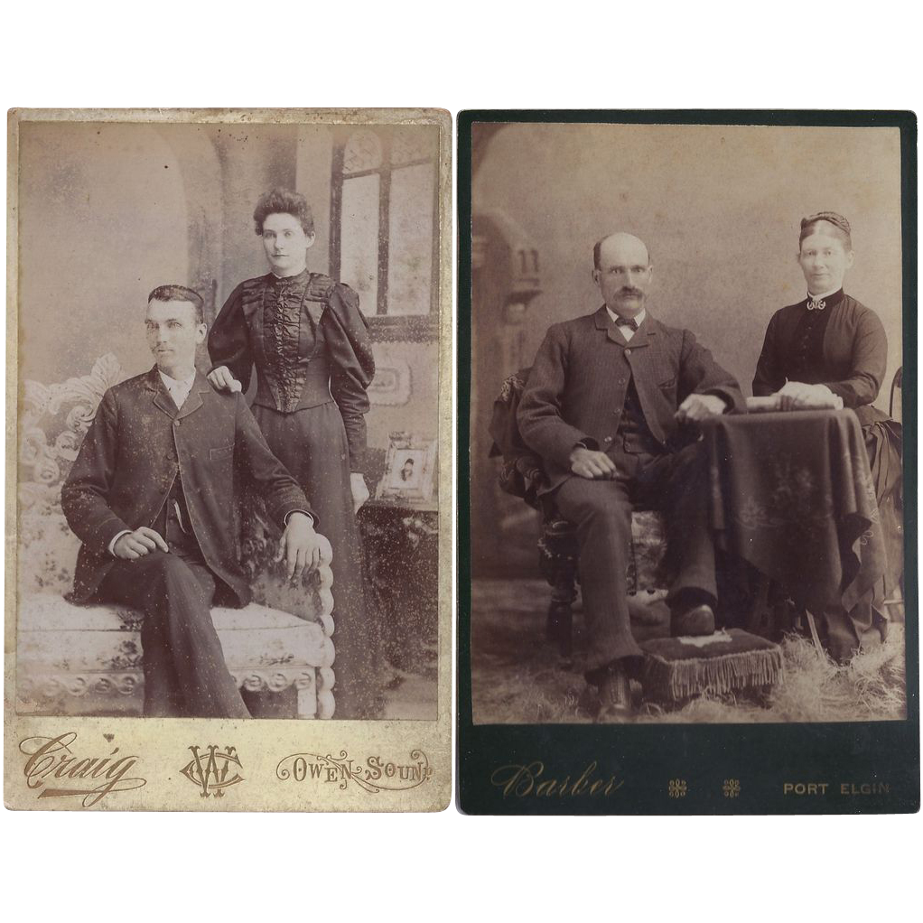 Pair of Victorian Photograph Cabinet Cards, Couples