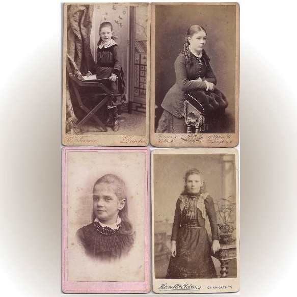 Group of 4 Carte-de-Visite Photographs, Young Girls