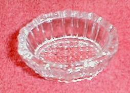 Oval Glass Salt Dip (Open Salt) Ribbed Side Pebble Bottom