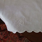 "Hand Embroidered Damask Huck Linen Towel With Hand Embroidered ""K"""