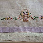 Pr. Hand Embroidered Linen Towels C:1950