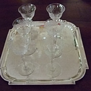 "Set Of Six 6"" Tall Etched Crystal Aperitif Stems C:1931"