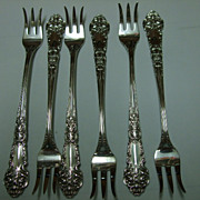 "Set of 6 Sterling ""French Renaissance"" Cocktail Forks"