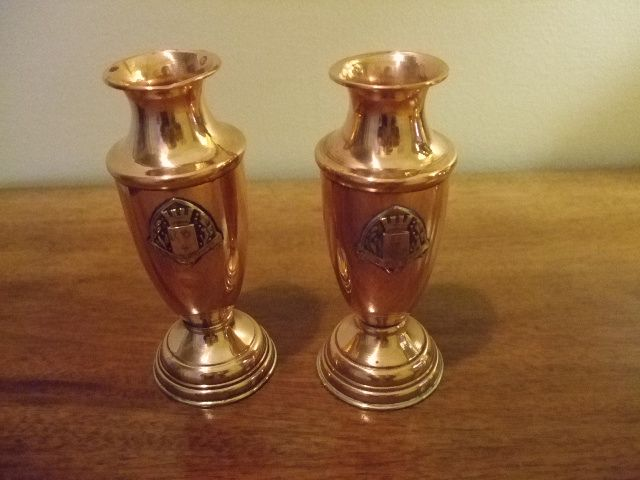 Pair Of Copper/Brass Ypres & Armentieres  Crest  Vases