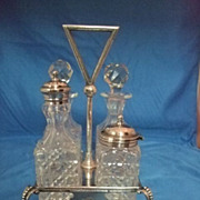 English Cruet Set In Stand With Four Holders