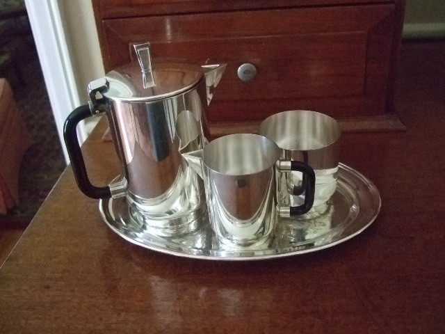 Kirk Stieff 3 Piece Demitasse Set With Academy Silver Tray