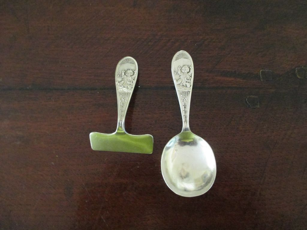 "2 Piece English Sterling ""Little Miss Muffet"" Spoon And Pusher"