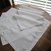 Vintage Hemstitched Set of Four Each Linen Mats & Napkins