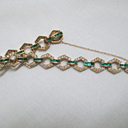 14K Yellow Gold, Diamond And Emerald Bracelet 7 1/4""