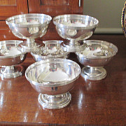 Vintage Set Of 6 Sterling Pedestal Foot Dessert Bowls
