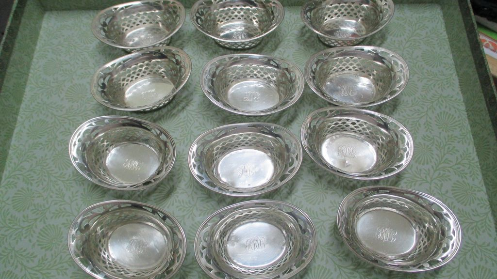 Set Of 12 Sterling Webster Nut Dishes