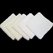 Set Of 5 Vintage Linen Hemstitched Napkins