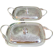 Pr. Handled Silver On Copper Serving Dishes