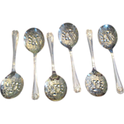Set Of 6 Silver Plated Repousse Bowl Spoons C:1955