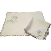 Set Of 8 Ea. Linen Mats And Napkins