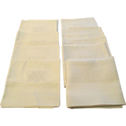 "Vintage Set Of 12 Snowy White 24"" Linen Napkins C:1940"