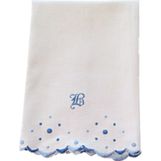 "Huck Linen Hand Embroidered Towel ""B"""