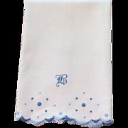 "Huck Linen Hand Embroidered Towel ""B"""