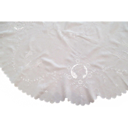 "52"" Round Hand Embroidered White Linen Overlay/Tablecloth C1940:"