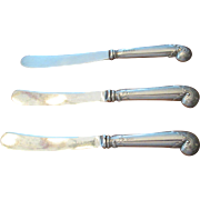 Set Of 3 English Sterling Spreaders C:1948