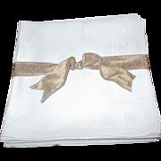 """Set Of 8 Oversized Damask Irish Linen Napkins (22x24"""")"""