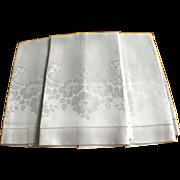 Set Of 3 Cream Damask Linen Towels C:1940