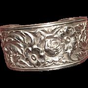 S. Kirk & Son Sterling Repousse Cuff Bracelet C:1940
