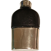 Small Leather/Glass/Silver plate English Flask