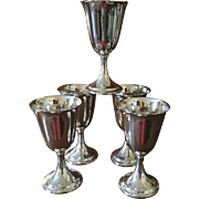 Set Of 5 Sterling Goblets By Dunkirk C:1950