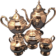 "5 Pc. Sterling Tea/Coffee Set in ""Puritan"" By Gorham"