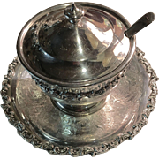English Silver On Copper Covered Bowl, Spoon & Tray