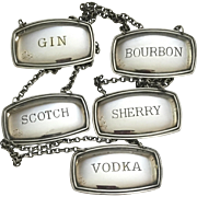 Set Of 5 English Decanter Labels