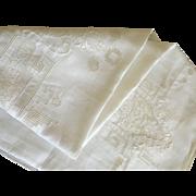 """Vintage Linen Tablecloth 102x68"""" C:1950"""