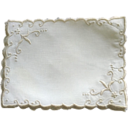 Set Of 8 Linen/Embroidered Cocktail Napkins C:1950 (4 Sets Available)