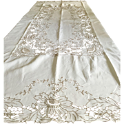 "Napkins And Cream Linen Tablecloth With Cutwork 95X62"" C:1950  (2 Available)"