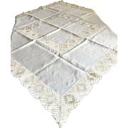 Linen Tablecloth With Crocheted Bands