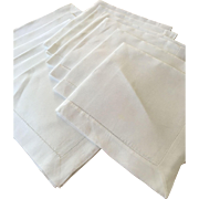 Set of 12 Linen Hemstitched Napkins